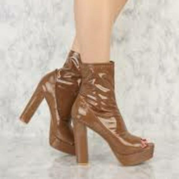 893076206da Mocha Peep Toe Chunky Heel Platform Booties
